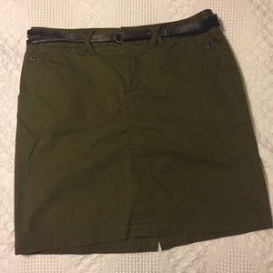 Olive Green Khaki Skirt with Belt